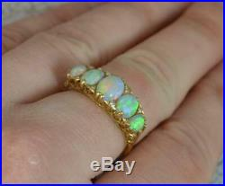 Victorian Natural Large Colourful Five Opal & Diamond 18ct Gold Stack Ring d0222