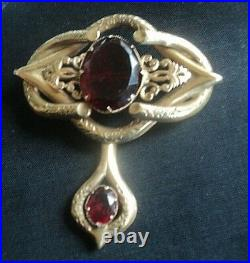 Victorian Superb LARGE Gold Pinchbeck & Red Glass Brooch + Dropper c. 1890/1900