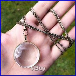 Victorian Yellow Gold Antique Pool Of Light Orb Pendant Large Necklace Crystal