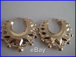 Victorian hoop earrings gold EXTRA LARGE 9 carat yellow