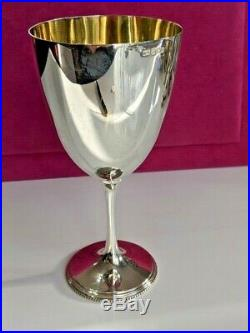 Victorian large solid silver goblet dated gold gilded bowl made 1900 dent free
