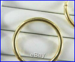 Vintage MB Signed Victorian Style Hoop Earrings Solid 18K Yellow Gold Large