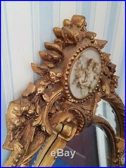 Vintage-Very Large Gilded Ornate Wall Mirror With Cherub/Putti Roundel Inserts