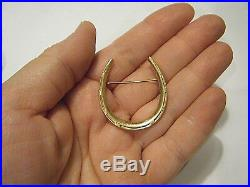 Vintage Victorian 1.5 Large 14K Yellow Gold Lucky Horseshoe Pin 7.8g
