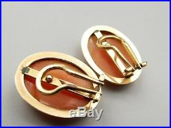 Vtg 14K Gold Carved Shell Cameo Clip On Earrings Victorian Woman Large Estate