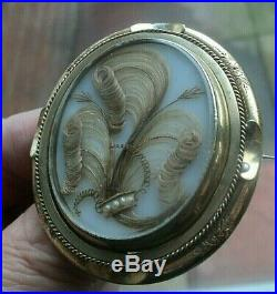 WOW Superb Victorian LARGE Pinchbeck Gold Mourning Hair Brooch c. 1870/1890s