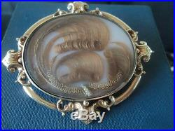 WOW Superb Victorian VERY LARGE 9ct Gold Mourning Hair Brooch c. 1870/1890s