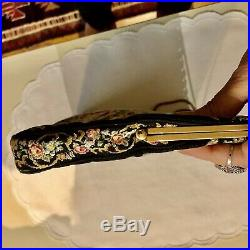 X large Vintage Scenic Micro Petit Point Tapestry Bag Marcasite Gold Tone Frame
